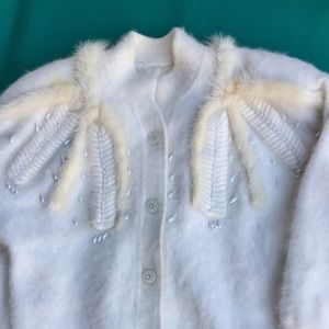 White Angora Sweater Long Sleeve with Faux Pearls